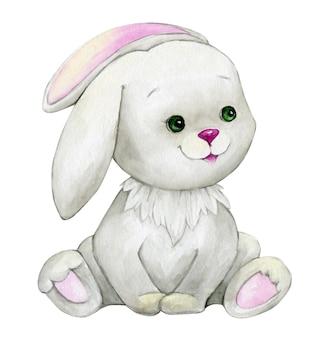 Coniglio sveglio, seduto, animale dell'acquerello, stile del fumetto, su priorità bassa isolata.