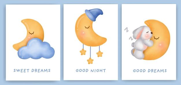 Un simpatico coniglio che dorme sul set di carte luna.