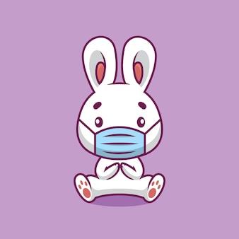 Coniglio sveglio usando l'illustrazione del fumetto della maschera