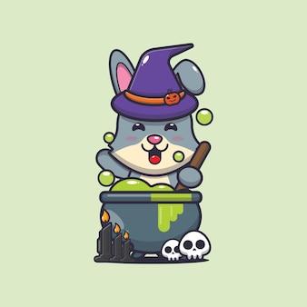 Simpatica strega coniglio che fa pozioni simpatica illustrazione di cartone animato di halloween