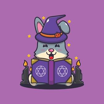 Carino coniglio strega lettura libro di incantesimi carino halloween fumetto illustrazione