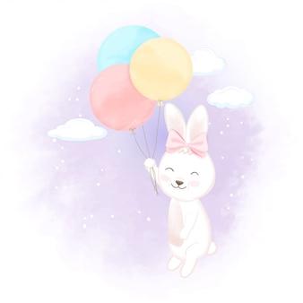 Coniglio sveglio con l'illustrazione disegnata a mano del fumetto del pallone