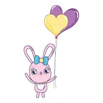 Coniglio carino con palloncini elio giorno di san valentino