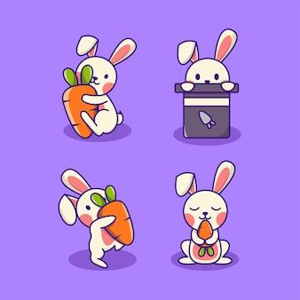 Simpatico coniglio con carota in una diversa collezione di cartoni animati di postura