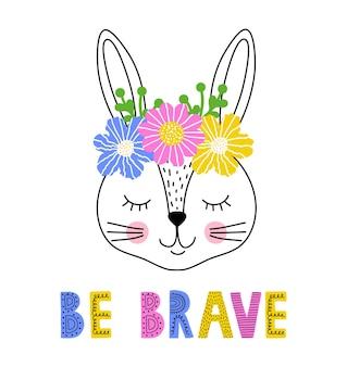 Simpatico coniglio con corona floreale su sfondo bianco.