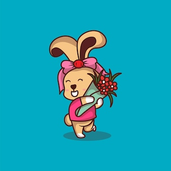 Simpatico coniglio con fiori fumetto illustrazione