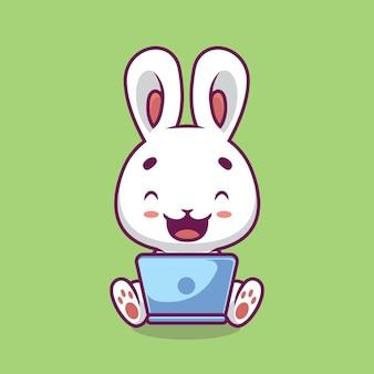 Coniglio sveglio con l'illustrazione del fumetto del computer portatile