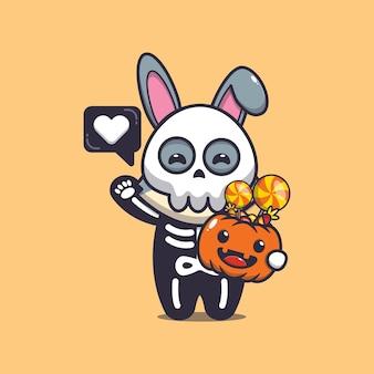 Simpatico coniglio con costume da scheletro che tiene in mano una zucca di halloween simpatica illustrazione di cartone animato di halloween