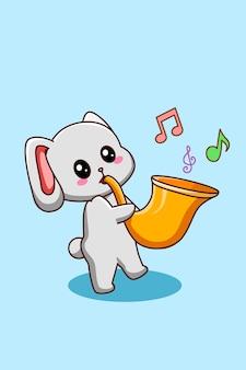 Simpatico coniglio con illustrazione di cartone animato tromba