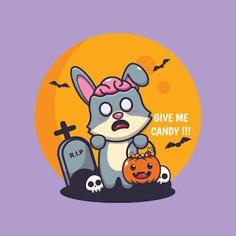 Simpatico coniglio zombie vuole caramelle simpatica illustrazione di cartone animato di halloween
