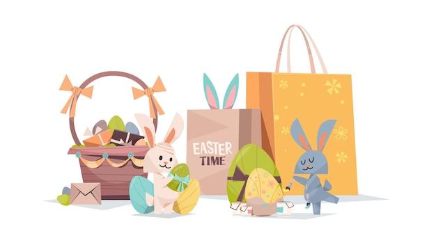 Simpatici conigli con cesto di uova decorate e borse per la spesa felice pasqua composizione in vacanza primaverile cartolina d'auguri poster illustrazione orizzontale