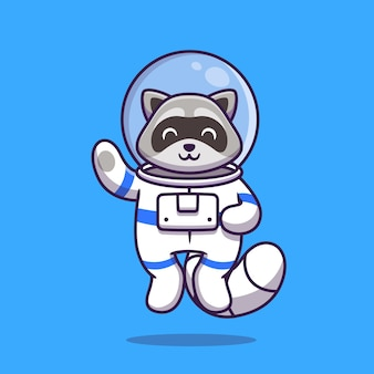 Illustrazione sveglia del fumetto della mano d'ondeggiamento dell'astronauta del procione