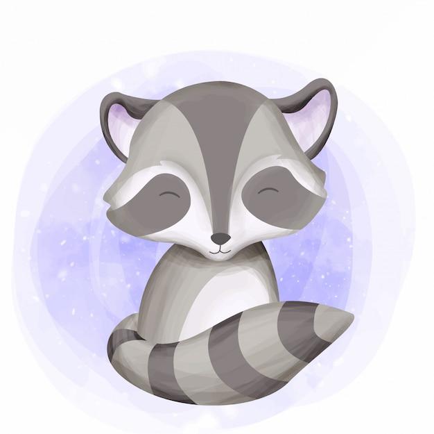Cute raccoon baby smile con la sua coda Vettore Premium