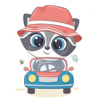 Procione carino guidare la macchina. illustrazione
