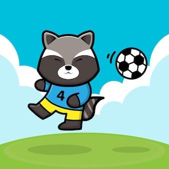 Simpatico procione calcio fumetto illustrazione vettoriale