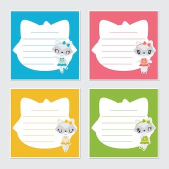 Cute ragazza procione telaio per set di carta memo bambino