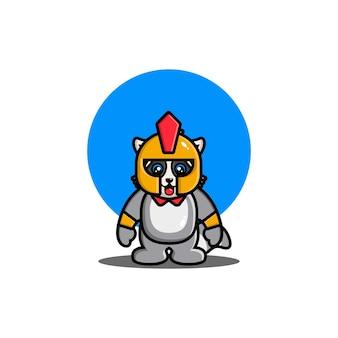 Carino, procione, gladiatore, cartone animato, icona, illustrazione, animale, eroe, icona, concetto, isolated