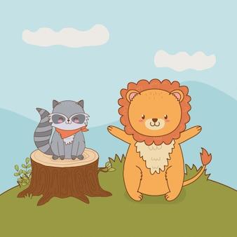 Procione e leone svegli nel carattere del terreno boscoso del campo