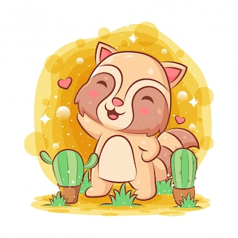 Procione sveglio che gioca nel giardino con un fiore di due cactus