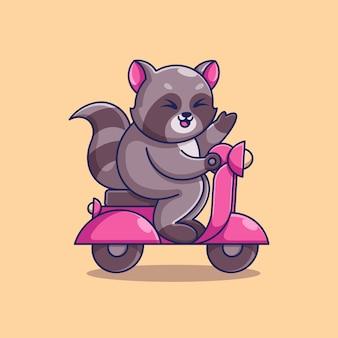Simpatico procione in sella a uno scooter cartone animato