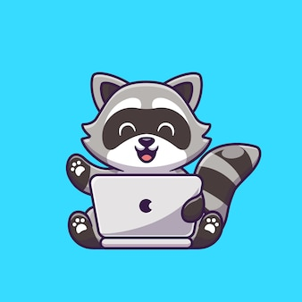 Procione sveglio che lavora all'illustrazione dell'icona del fumetto del computer portatile. concetto dell'icona di tecnologia animale isolato. stile cartone animato piatto
