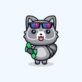 Simpatici procioni che tengono illustrazione del personaggio animale di vettore dei soldi