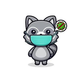 Simpatici procioni che indossano una maschera per prevenire l'illustrazione del carattere animale del vettore del virus