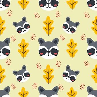 Carino racoon animale vettore seamless pattern background