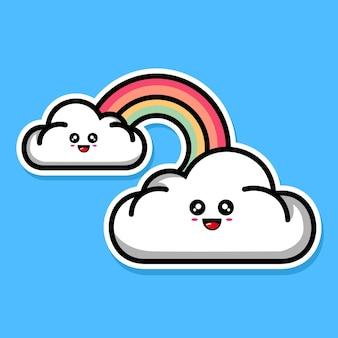 Simpatico cartone animato arcobaleno e nuvola