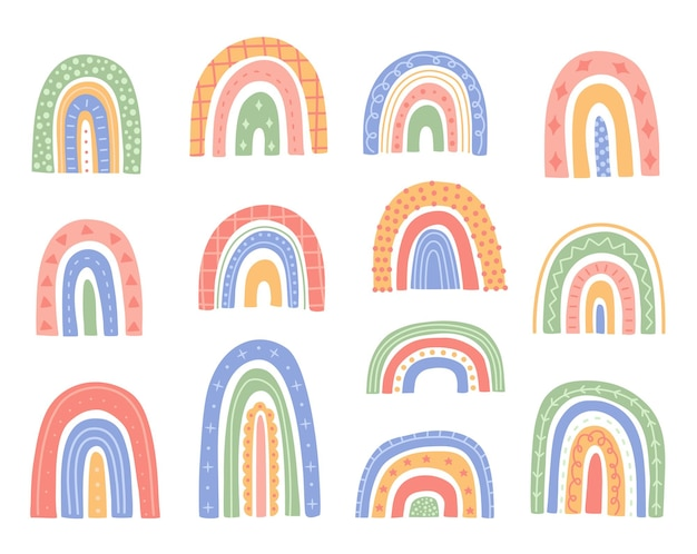 Simpatico set arcobaleno, forme astratte con ornamenti, elementi disegnati a mano in stile cartone animato moderno e alla moda. clipart scandinava minimalista. fondo bianco isolato raccolta dell'illustrazione di vettore