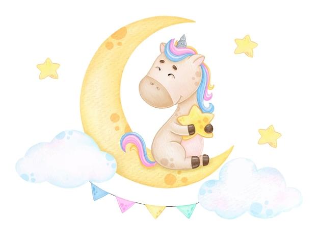 Simpatico unicorno arcobaleno seduto su un'illustrazione dell'acquerello del bambino della luna
