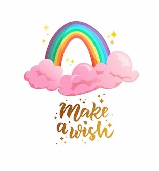 Simpatico arcobaleno con magiche nuvole rosa.
