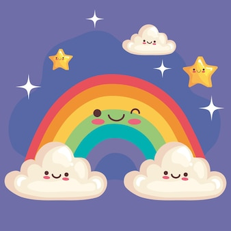 Simpatico arcobaleno con stelle e nuvole personaggi kawaii