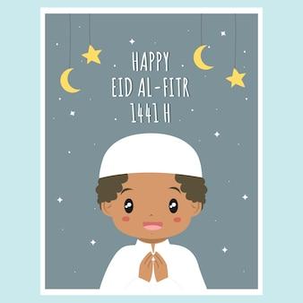 Carino ramadan eid al fitr card. vettore della carta del ramadan del ragazzo afroamericano musulmano