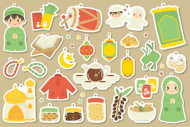 Simpatico ramadan, doodle di elementi di eid al fitr. set di cartoni animati.