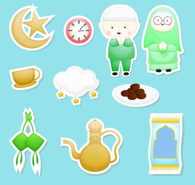 Carino ramadan, doodle di elementi di eid al fitr. insieme dell'autoadesivo del fumetto.