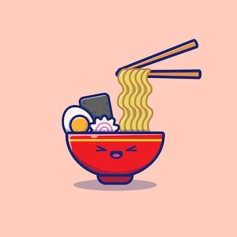 Ramen noodle cartoon icon illustration sveglia. concetto dell'icona della tagliatella dell'alimento isolato. stile cartone animato piatto