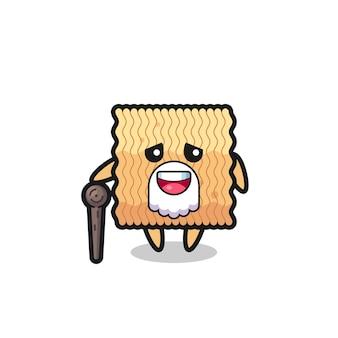 Il simpatico nonno di spaghetti istantanei crudi tiene in mano un bastone, un design in stile carino per maglietta, adesivo, elemento logo