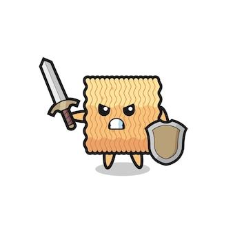 Simpatico soldato di spaghetti istantanei crudi che combatte con spada e scudo, design in stile carino per maglietta, adesivo, elemento logo