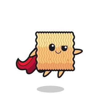 Il simpatico personaggio di supereroe di spaghetti istantanei crudi sta volando, design in stile carino per maglietta, adesivo, elemento logo