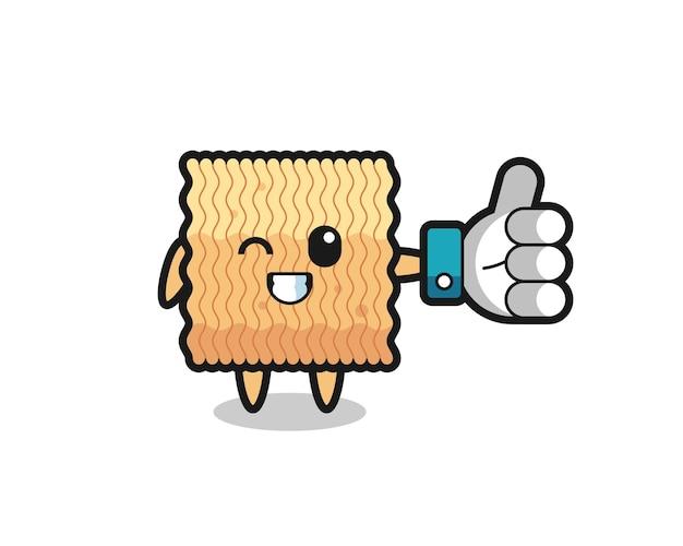 Simpatico noodle istantaneo crudo con simbolo del pollice in alto sui social media, design in stile carino per t-shirt, adesivo, elemento logo