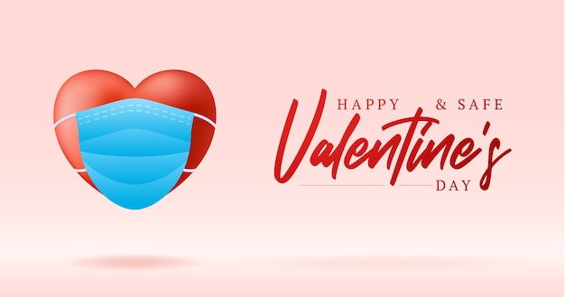 Cuore rosso realistico sveglio nella mascherina medica blu. protezione per un san valentino felice e sicuro.