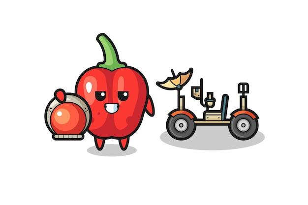 Il simpatico peperone rosso come astronauta con un rover lunare, design in stile carino per maglietta, adesivo, elemento logo
