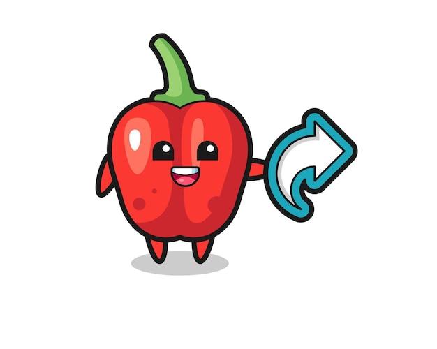 Il simpatico peperone rosso tiene il simbolo della condivisione sui social media, il design in stile carino per la maglietta, l'adesivo, l'elemento logo
