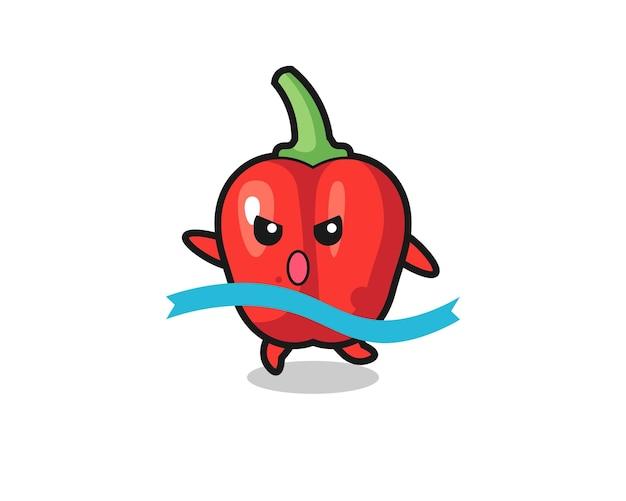 L'illustrazione carina di peperone rosso sta raggiungendo il traguardo, design in stile carino per t-shirt, adesivo, elemento logo