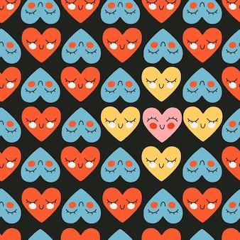 Modello carino cuore rosso e blu