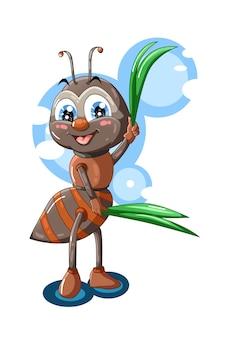 Una formica marrone rossa carina porta foglie illustrazione animale