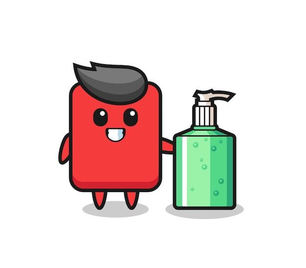 Simpatico cartone animato cartellino rosso con disinfettante per le mani, design in stile carino per t-shirt, adesivo, elemento logo