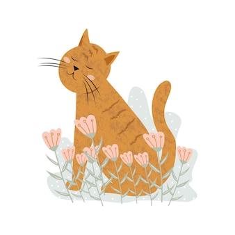 Simpatico gatto rosso che dorme o sogna sull'erba con fiori rosa icona di animali domestici illustrazione