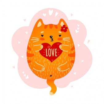 Gatto rosso sveglio con il cuore di amore in zampe su bianco